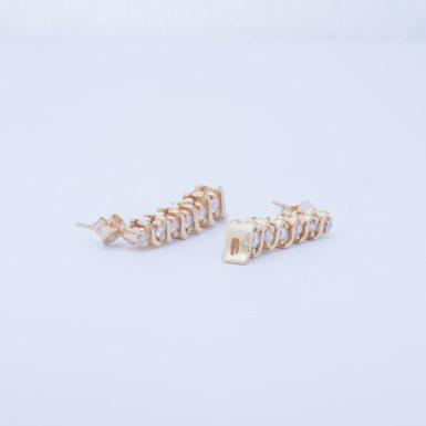 Pre-Owned 14K Diamond S-Link Drop Earrings