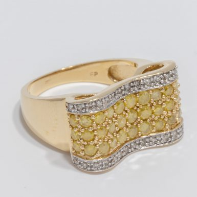 Pre-Owned 14K White and Yellow Diamond Ribbon Ring
