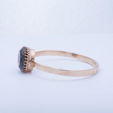 Vintage 14K Smokey Quartz Bangle Bracelet