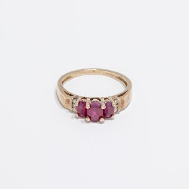 Pre-Owned 14K 3- Ruby Ring with Diamonds