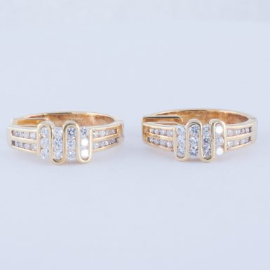 Pre-Owned, Contemporary and Elegant, 14K, Diamond Hoop Earrings with .80 Carats in Total Weight.