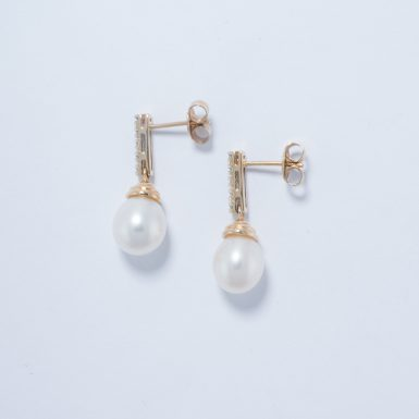 14k Pearl and Diamond Drop Style Earrings