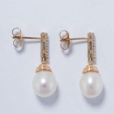 14k Pearl and Diamond Drop Style Earrings