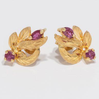 Pre-Owned 14k Ruby Leaf Earrings