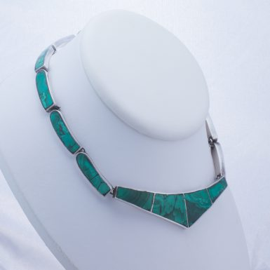 Vintage Inlaid Sterling Silver Tasco Malachite Collar