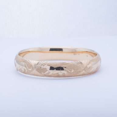 Pre-Owned 14K Diamond Cut Panther Bangle Bracelet