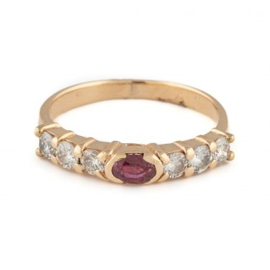 Pre-Owned 14K Ruby & Diamond Band