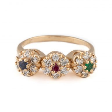 Vintage 14K Multi Gemstone Fashion Ring
