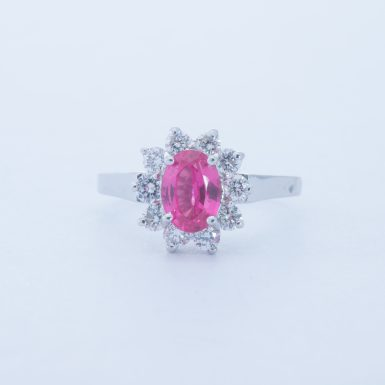 Pre-Owned 18K Spinel and Diamond Ring