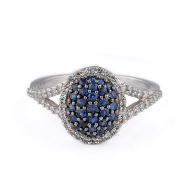 Pre-Owned Sapphire and Diamond Pave Fashion Ring