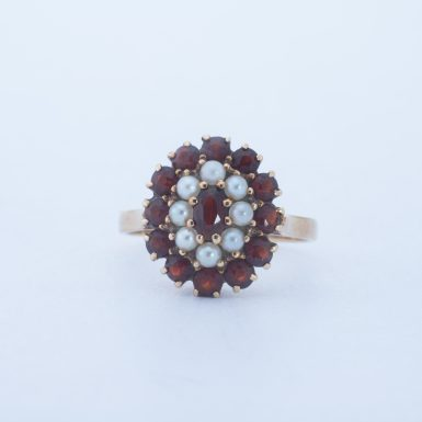 Pre-Owned 14K Garnet and Pearl Ring