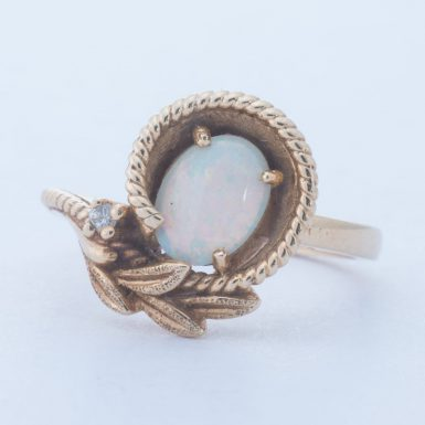 Pre-Owned 14K Opal Ring with Diamonds