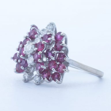 Vintage 14k Ruby and Diamond Butterfly Ring