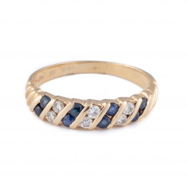 Pre-Owned Art Deco Style 14K Sapphire and Diamond Band