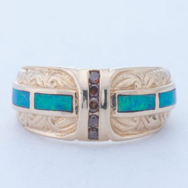 Pre-Owned 14K Synthetic Opal & Diamond Inlay Ring