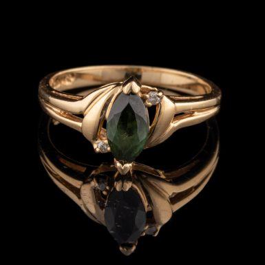 Pre-Owned 14K Chrome Tourmaline and Diamond Ring