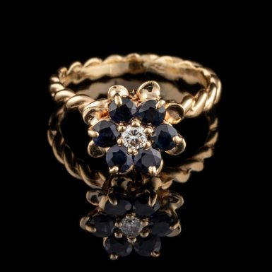 Pre-Owned 14K Sapphire and Diamond Flower Ring