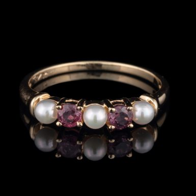 Pre-Owned 10K Ruby and Pearl Ring