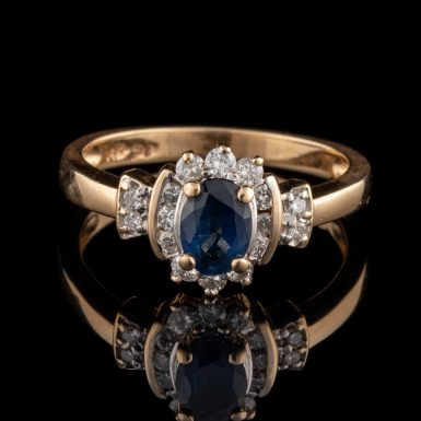 Pre-Owned 14K Sapphire & Diamond Ring