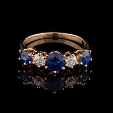 Pre-Owned 14K Sapphire & Old European Cut Diamond Ring