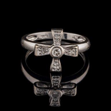 Pre-Owned Diamond Cross Ring in 14K White Gold