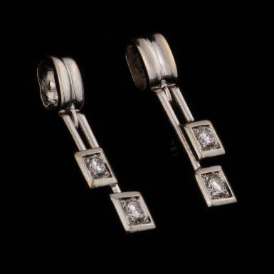 Pre-Owned Custom 18K VS Diamond Drop Style Earrings