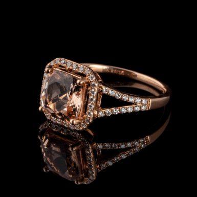 Morganite and Diamond 14K Rose Gold Ring