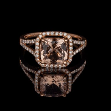 Morganite and Diamond 14K Rose Gold Ring