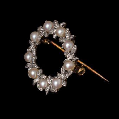 Vintage 14K Oval-Circle Pearl and Diamond Pin