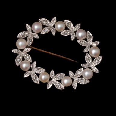 Vintage 14K Oval-Circle Pearl and Diamond Pin