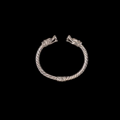 Sterling Silver Hinged Dragon Cuff Bracelet