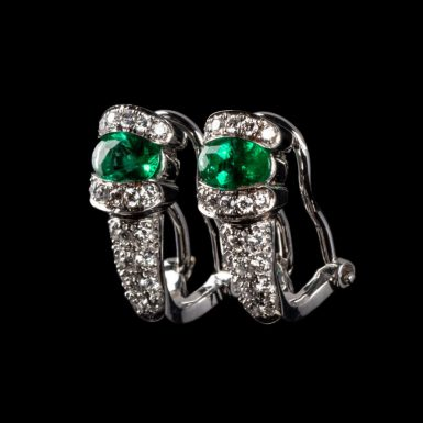 Pre-Owned 18K Diamond and Synthetic Emerald Earrings