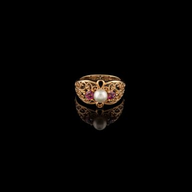 Pre-Owned 10K Pearl and Topaz Ring