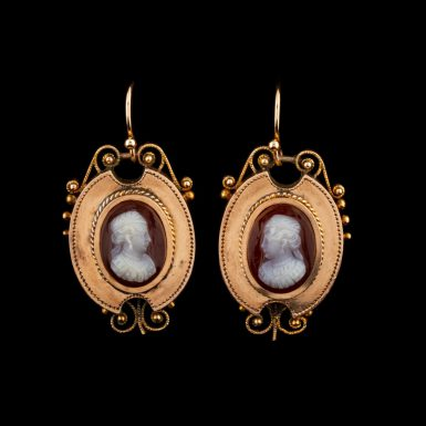 Rare Victorian 14K Hardstone Cameo Earrings
