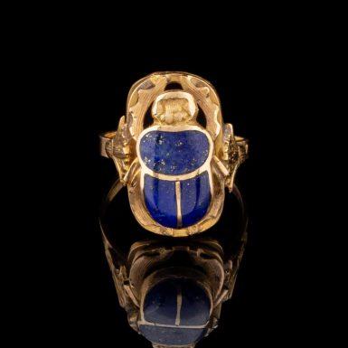 Pre-Owned 18K Lapis Scarab Ring