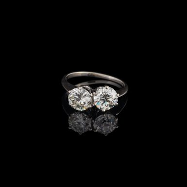 Estate 2.24 Carat Total Weight Double Diamond Ring in 14K White Gold