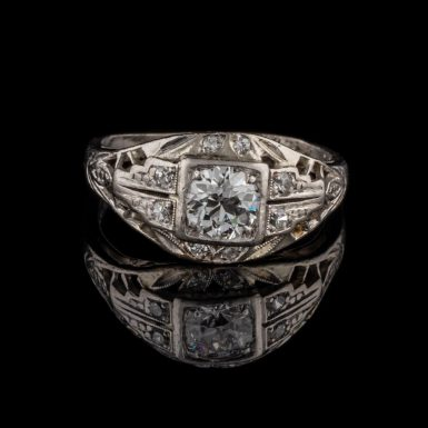 Art Deco .72 Carat Total Weight Diamond and Filigree Platinum Dinner Ring