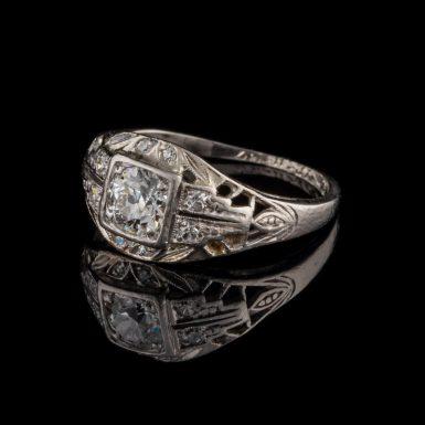 Art Deco .72 Carat Total Weight Diamond and Filigree Platinum Dinner Ring
