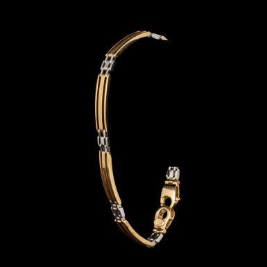 14K Yellow and White Bar Link Bracelet