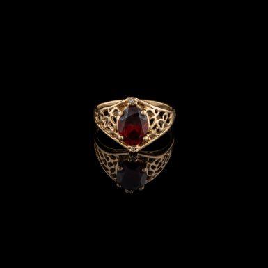 Pre-Owned 10K Filigree Garnet Ring