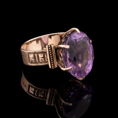 14k Victorian Ring with Modern Amethyst