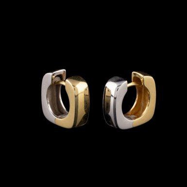 Pre-Owned 14K Two-Tone Hinged Hood Earrings