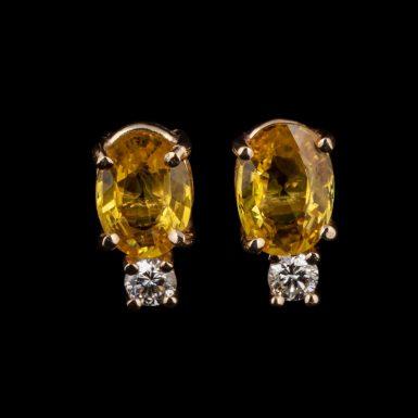 14K Yellow Sapphire and Diamond Stud Earrings