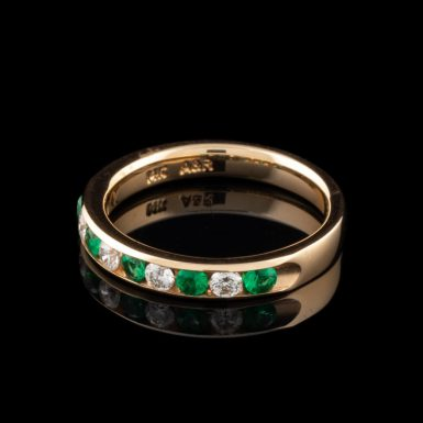 Pre-Owned 14K Emerald and Diamond Band