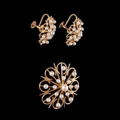 Vintage 14K Cultured Pearl Brooch With Earrings