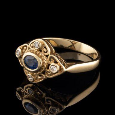 14K Sapphire Filigree Ring with Diamonds