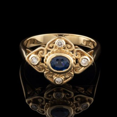 14K Sapphire Filigree Ring with Diamonds