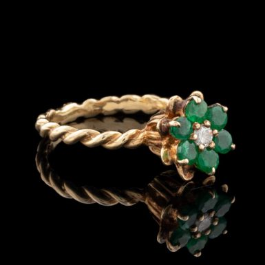 Pre-Owned 14K Emerald and Diamond Flower Ring