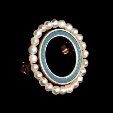 Antique 14k Enameled and Pearl Sweet Heart Pin