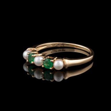 Pre-Owned 10K Emerald and Pearl Band